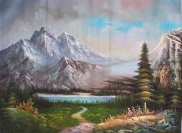 land sea nature oil painting 908 mountains trees lake sunset