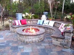 garden and patio backyard patio rustic house design with round diy brick fire pit and