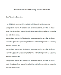sample letter of recommendation for college student free 10 sample recommendation letter for students in pdf doc