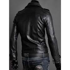mens slim fit black faux leather moto jacket