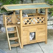 wooden cat house pet shelter for homemade outdoor diy feral extraordinary co feline furniture eleg