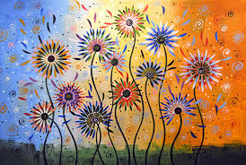 nature painting original abstract modern flowers garden art explosion of joy by