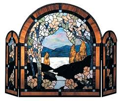 stained glass fireplace screen stained glass fireplace beveled screen clear s screens stained glass fire screen