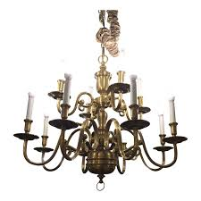 ethan allen twelve light brass chandelier