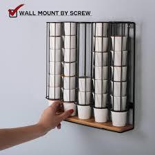 storage organization jackcubedesign wall mount bamboo 35 k cup dispenser stand