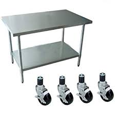 table with wheels. 24\u0026quot; x 48\u0026quot; work table with 4 casters wheels stainless steel food prep worktable 0