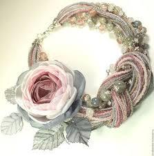 Дымно - <b>Розовый Сад</b>. <b>Колье</b> и брошь | Цветочное ожерелье ...
