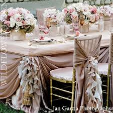weddbook frilly pale pink wedding table design for dream wedding wedding decoration with pink roses and ruffled wedding chair covers and sashes