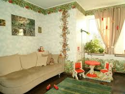 wall decorating with floral wallpaper pattern, green wallpaper with red  flowers Family room ...