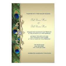 Peacock Invitations Emerald Green And Gold Peacock Wedding Invitation Zazzle Com