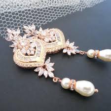 rose gold chandelier earrings rose gold bridal earrings rose gold chandelier earrings rose gold crystal earrings bridal jewelry wedding earrings pearl