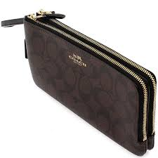 Coach Double Zip Large Wristlet Wallet In Signature Black   Brown   F54057