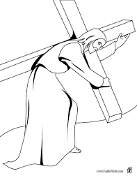 Printable Coloring Pages coloring pages of the cross : Jesus christ carrying the cross coloring pages - Hellokids.com