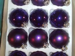18 ältere Christbaumkugeln Glas Violett Lila