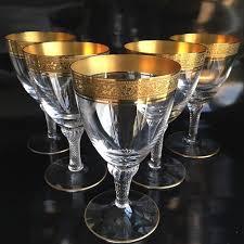 theresienthal 5 elegant crystal wine glasses rich textured gold border 24 carat