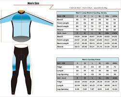 Cycling Jersey Size Chart Mens Long Sleeve Cycling Jersey Size Chart Chogory