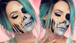 a gruesome makeup tutorial that makes it look like your face melting off of your skull