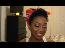 rosie the riveter pin up makeup and hair tutorial