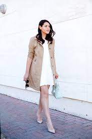 classic trench coat and white dress on kendi everyday