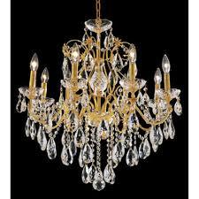 st francis 8 light oval drops chandelier finish gold crystal trim elegant