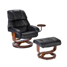 exclusive modern black leather swivel chair with cup holder and modern swivel ottoman