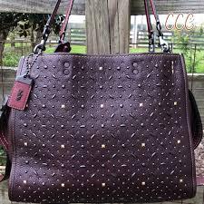 20315 Coach Rogue Oxblood Rivet Studded Bag Suede