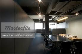 industrial modern office. Conference Table In Modern Industrial Office - Stock Photo