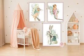 3 fairy print baby girl nursery wall