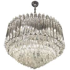 mid century italian murano round nine tiered glass chandelier by venini