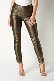 glitter faux leather trousers