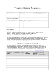 training record template health and safety training record template