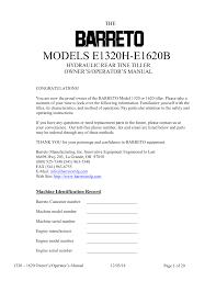 barretto 1320 1620 13 hp rotavator manualzz com Barreto Till at Barreto Tiller Wiring Diagram
