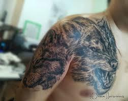 тату волк на плече фото татуировки в стиле блэк энд грей вол 617285