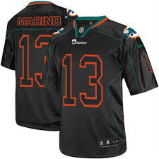 Elite Men's Football Dolphins2280038 Black Out Marino 13 Jersey Miami Lights Dan