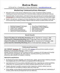 40 Professional Marketing Resume Templates PDF DOC Free Custom Communications Manager Resume