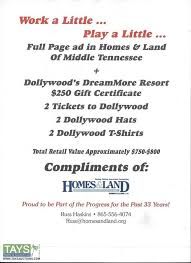full page ad in homes land of middle tennessee dollywood s dreammore resort 250