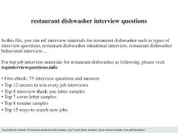 Sample Resume Questions Dishwasher Resume Restaurant Dishwasher Interview Questions In This 34