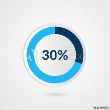 30 Percent Blue Grey And White Pie Chart Percentage Vector