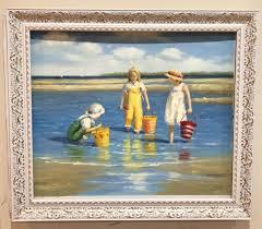 joyful childhood oil painting with frame