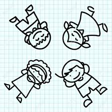 Kids Hand Draw Cartoon On Blue Graph Paper Royalty Free Cliparts