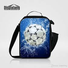 2018 cool soccer insulated lunch bags for kids thermal cooler bag for age boys football printing men mini food messenger lunch box ba from