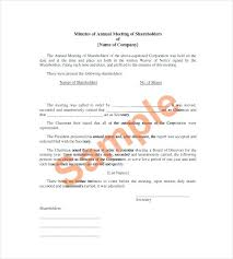 Annual Board Of Directors Meeting Minutes Template Historical