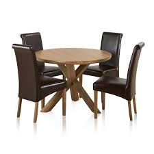 trinity natural solid oak dining set 3ft 7 round table with 4 scroll back express delivery