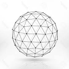 Photostock vector wireframe polygonal sphere work lines abstract