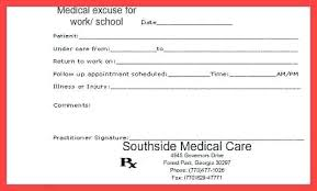 Fake Doctors Note Templates For School Work Printable Template Dr To