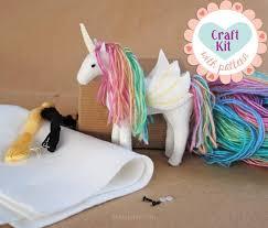 unicorn sewing kit make your own stuffed unicorn diy craft kit felt animal pattern handmade alicorn pegasus unicorn plush