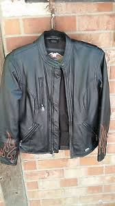 Harley Davidson Womens Flame Motorcycle Leather Jacket Excellent Size Xs Ebay
