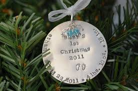 Personalized Hand Stamped Baby's First Christmas Ornament : Baby 1st