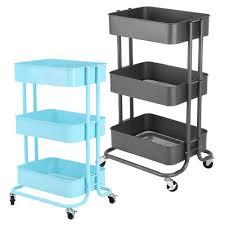 office trolley cart. 3 Tier Carbon Steel Storage Rack Trolley Cart Kitchen Bedroom Hallway  W/Wheels Office Trolley Cart