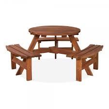 wexler 6 seater round garden picnic table walnut